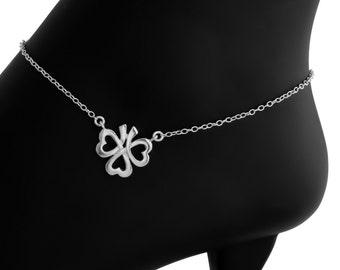 Heart Shamrock Three Leaf Love Clover Plant Symbol of Ireland Irish Patrick's Lucky Charm Pendant Anklet #925 Sterling Silver #Azaggi A0620S