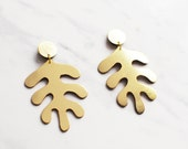 Handmade gold leather Matisse inspired earrings