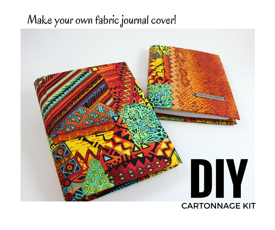 Fabric Book Cover Kit : Reusable fabric journal cover diy kit instructions optional
