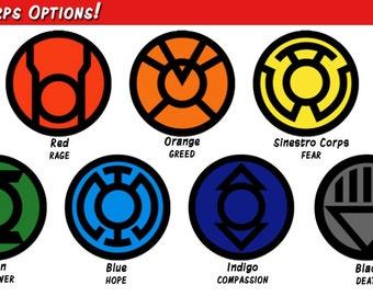 Car Decal - Lantern Corps - Green Sinestro Blue Lantern Apathy Vinyl Laptop Sticker