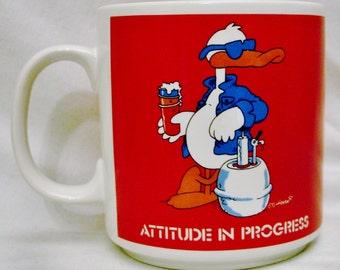 "Russ MUG ""Attitude in Progress"" Signature 1987- No. 8707-Russ Berrie & Co. Inc. Made in Korea"