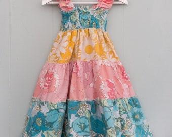 Vintage fabric sundress, girls party dress