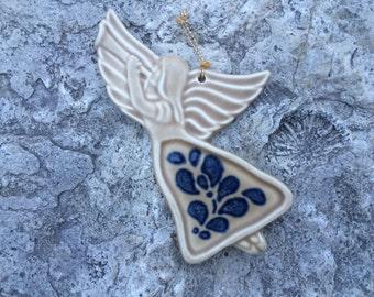 Folk Art Angel Ornament, Pfaltzgraff, Vintage 1980s, Gift Idea