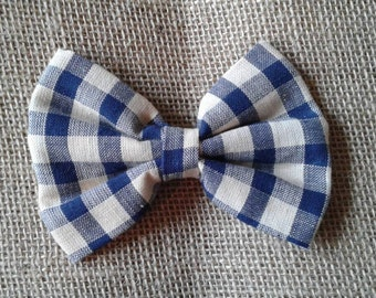 Blue and white plaid bow