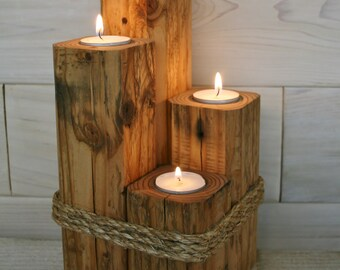 Reclaimed Fir Tea Light Tower