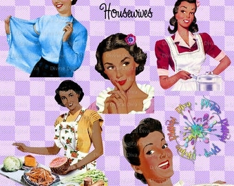Retro Housewives 50s Vintage | Women of Color | African Ameriocan | Mid Century Women | Clipart Instant Download