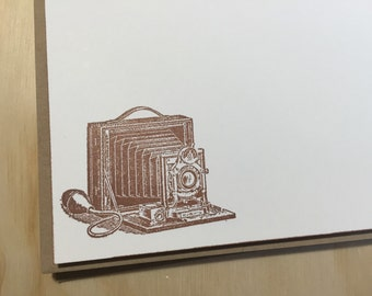 vintage inspired flat note cards and envelopes, stationery set, vintage camera,  set of 10