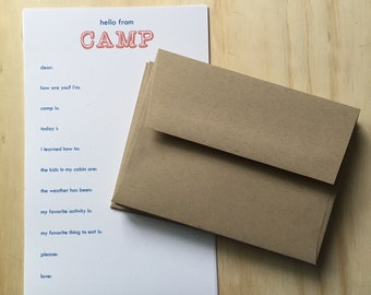 kids camp stationery, vintage inspired, camp stationery set, blue and orange