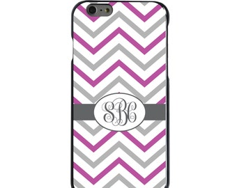 Hard Snap-On Case for Apple 5 5S SE 6 6S 7 Plus - CUSTOM Monogram - Any Colors - White Purple Grey Chevron