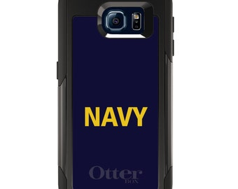 OtterBox Commuter for Galaxy S4 / S5 / S6 / S7 / S8 / S8+ / Note 4 5 8 - CUSTOM Monogram - Any Colors - Yellow Navy