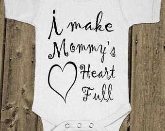I Make Mommy'S Heart Full - Baby One Piece Cotton Bodysuit