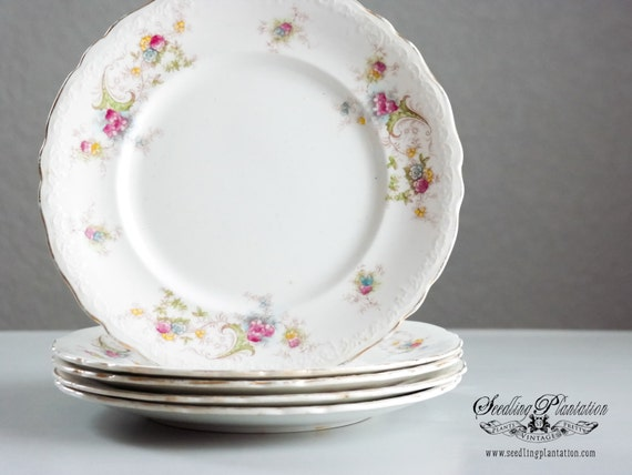 Vintage White Floral Plate-Set of 5 -French Country Shabby Chic