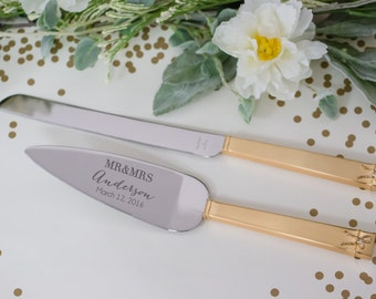 Personalized Vera Wang Love Knots Gold Wedding Cake Knife And Server Set