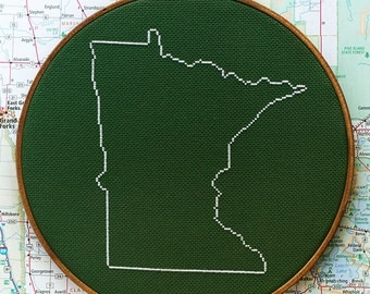 State of Minnesota map, CROSS STITCH PATTERN