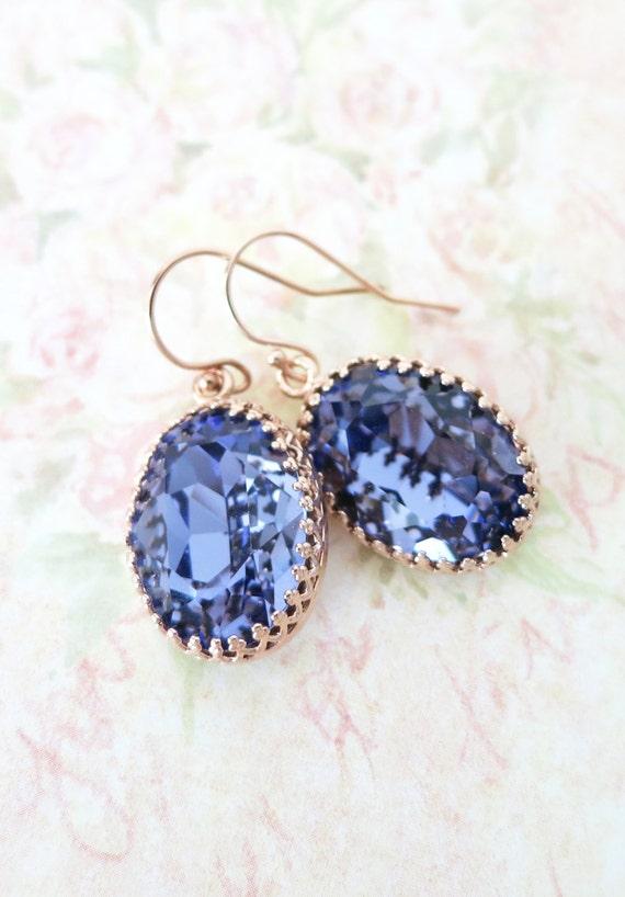 Rose Gold FILLED Swarovski Tanzanite Purple Oval Crystal Earrings, wedding bridal earrings, bridal bridesmaid gifts, pink gold weddings