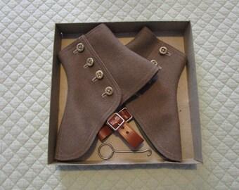 Vintage Wool Felt Spats, c. 1918-1922