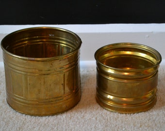 Two Brass Planters