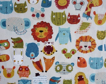 Zoo Animal Faces - Japanese Fabric - Westex - Quilting Fabric