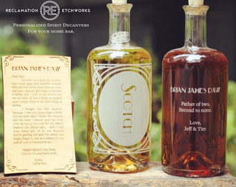 Father's Day Gift! Personalized Etched Spirit Decanter with custom wooden card- Custom gifts for dads