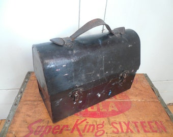 Vintage Black Dome Lunch Box with Leather Handle....Icy Hot