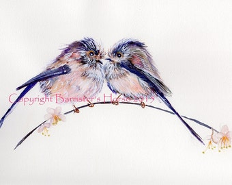 Little Birds/Long Tailed Tits, fine art, Giclee Watercolour Painting Print A4. Archival quality inks