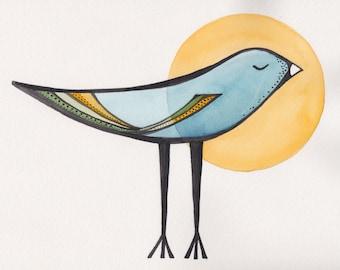 Sun Bird Art Print, nursery animal art, watercolor print, print of original painting