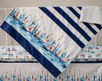 Nautical Navy Blue Red Stripes and Sailboats Baby Blanket