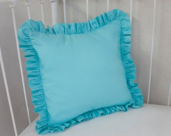 "Aqua  Nursery Ruffle Trim Pillow COVER, 14"" x 14"""