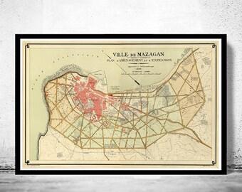 Old Map of Mazagan Morocco 1916