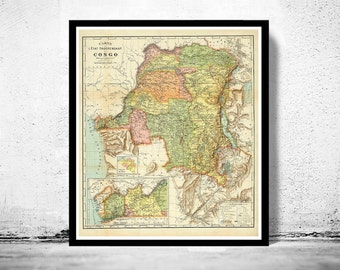 Old Map of Congo Africa 1910