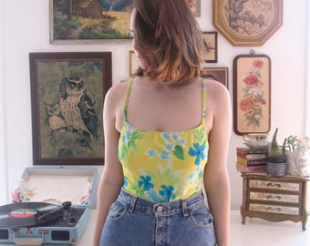 Vintage Yellow Floral Laceup Swimsuit