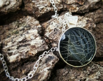 Real Spider Web Preserved in Resin - Halloween Necklace Pendant - Spider Talisman