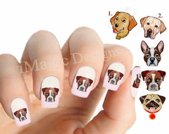 Nail Decals, Water Slide Nail Transfers, Dog Nail Stickers, Labrador, Boxer, Pug or Boston Terrier