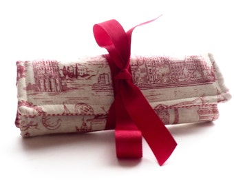 Red cream Travel Image Paris London Berlin Rome Jewelry Roll  Bridesmaid Gift Travel Accessories