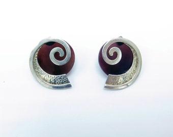 Vintage Silver Nautilus Earrings