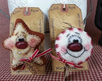 Christmas Treat Pins/Ornies Pattern #142 - Primitive Doll Pattern - Christmas - Star Cookie - Minty - Pin/Broach