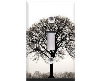 Black and White Autumn Tree Light Switch Cover