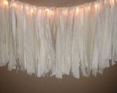 French Farmhouse style Garland Lighted Shabby boho tattered banner Photo prop bunting in Cream, white & natural lace and fabric