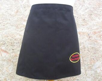Simple Black half apron with Embroidered Logo.  Server apron. Cafe Apron.