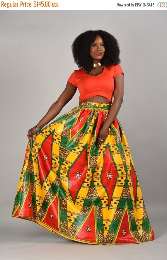 Clearance luxury  African print  Maxi Skirt yellow burst.