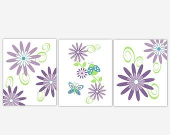 Baby Girl Nursery Wall Art Purple Lavender Teal Flower Bursts Dahlia Ladybug Butterfly Floral Prints Home Decor Girls Room Art 3 Print Set