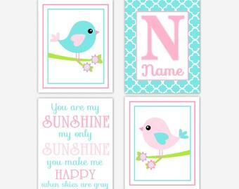 Baby Girl Nursery Art Pink Aqua Teal Birds You Are My Sunshine Personalized Art Baby Nursery Decor Girl Room Wall Decor Nursery Prints