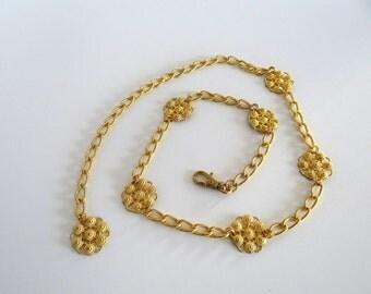 Gold Chain Belt Vintage Medallion Metal