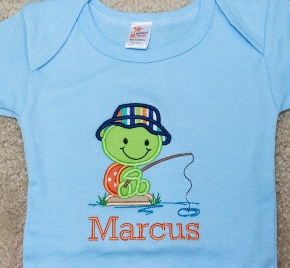 Fishing turtle baby boy outfit baby boy personalized shirt for Baby fishing outfit