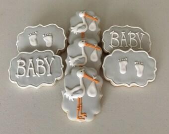 Stork/ Baby Shower Sugar Cookies