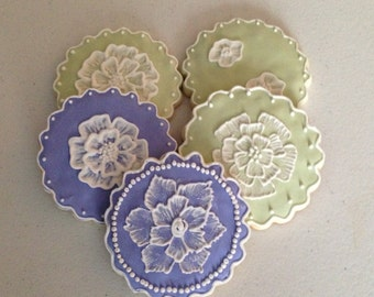 Painted Flowers/Brushed Embroidery Sugar Cookies
