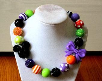 Disney Halloween  bubblegum necklace Mickey Mouse chunky bead necklace bubblegum bead necklace chunky bead necklace orange black lime purple