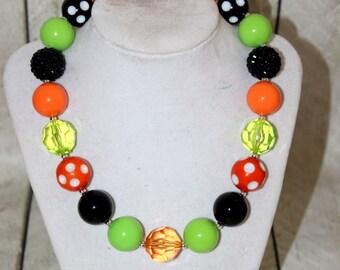 Halloween  bubblegum necklace chunky bead necklace bubblegum bead necklace chunky bead necklace for girl bubble gum orange black lime green