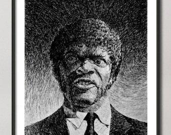 Pulp fiction print, Tarantino art, Jules Winnfield portrait poster, Samuel l Jackson, black ink drawing,  Giclee Fine Art Poster Print