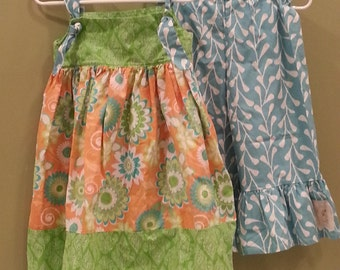Knot Dress in Peach, Green and Blue Bloomers
